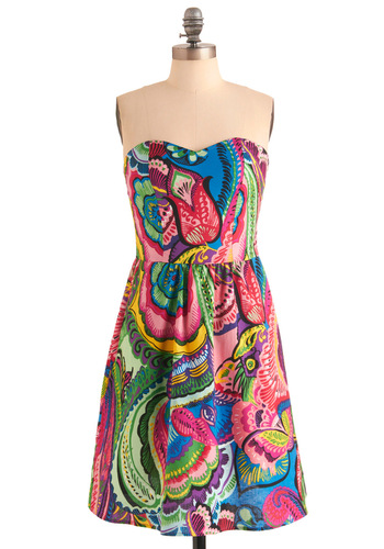 Lei Day Dress - Party, Multi, Print, Pockets, A-line, Strapless, Green, Blue, Pink, Mid-length, Cotton, Sweetheart, Tis the Season Sale