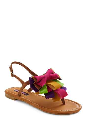 Pros and Conga Lines Sandal - Multi, Yellow, Green, Purple, Pink, Bows, Casual, Brown, Summer