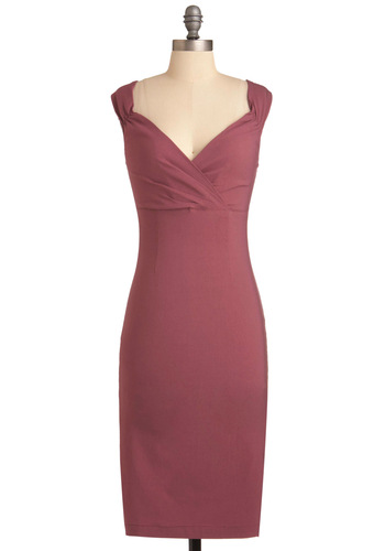 Lady Love Song Dress in Mauve - Long, Solid, Pleats, Sheath / Shift, Formal, Wedding, Vintage Inspired, Pink, Party, 60s, Sleeveless, Exclusives