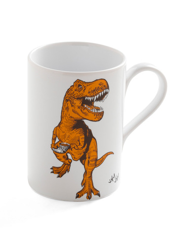 Diner-saurs Mug - Yellow, White, Work, Dorm Decor, Top Rated