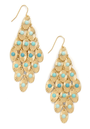Dew Drop By Earrings - Blue, Gold, Party
