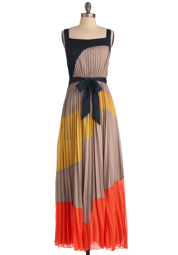 Drifting Dunes Dress - Long, Orange, Yellow, Black, Pleats, Maxi, Tank top (2 thick straps), Tan / Cream, Party, Belted, Colorblocking, Beach/Resort