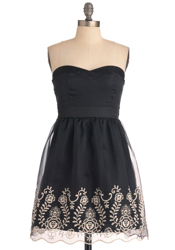 Dinner on the Balcony Dress - Black, Tan / Cream, Floral, Embroidery, Strapless, Special Occasion, Prom, Party, Scallops, A-line, Mid-length