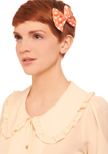 Afternoon in the Orchard Hair Clip Set - Casual, Orange, White, Black, White, Novelty Print, Fruits