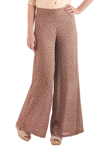 Petals in the Breeze Pants - Casual, Brown, White, Polka Dots, Vintage Inspired, Long