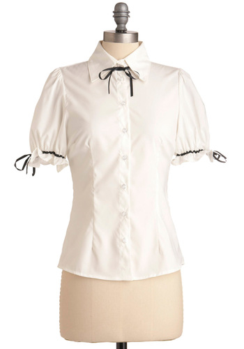 Puff Love Top - Mid-length, White, Black, Solid, Bows, Work, Short Sleeves, Buttons, Tie Neck, Button Down, Collared, Pinup