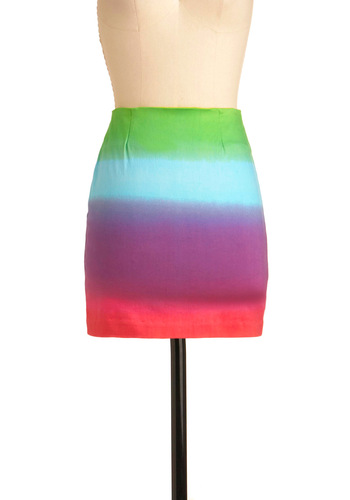 Singing in the Rainbow Skirt by Motel - Short, Exposed zipper, Green, Blue, Purple, Pink, Party, Urban, Girls Night Out, Bodycon / Bandage, Tis the Season Sale