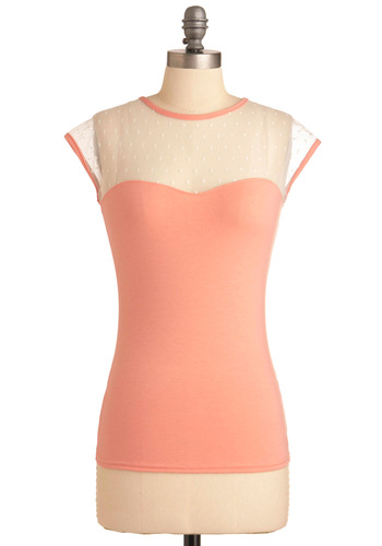 The Answer is Sheer Top in Pink - Mid-length, Pink, White, Solid, Vintage Inspired, Sleeveless, Cap Sleeves, Exclusives, Pastel, Sheer, Work