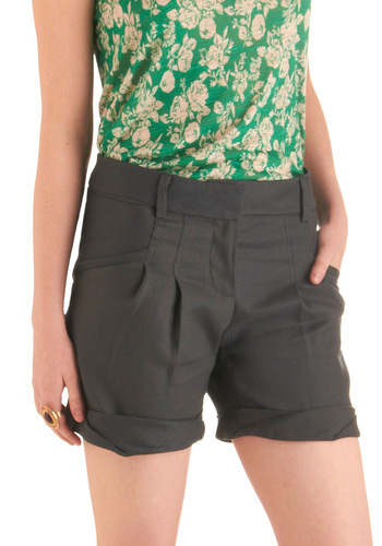 Monument Tour Shorts - Mid-length, Casual, Menswear Inspired, Grey, Solid, Pleats, Pockets