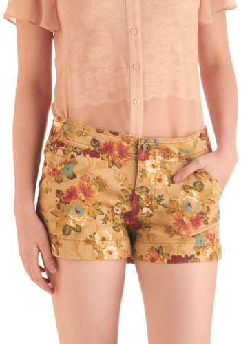 Potpourri Pretty Shorts - Casual, Vintage Inspired, Tan, Multi, Floral, Pockets, Multi, Short, Denim
