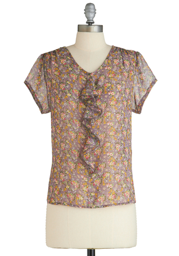 Flowers to Keep Top - Party, Vintage Inspired, 40s, 50s, Floral, Ruffles, Short Sleeves, Multi, Yellow, Purple, Work, Mid-length, Buttons, Exclusives, Sheer