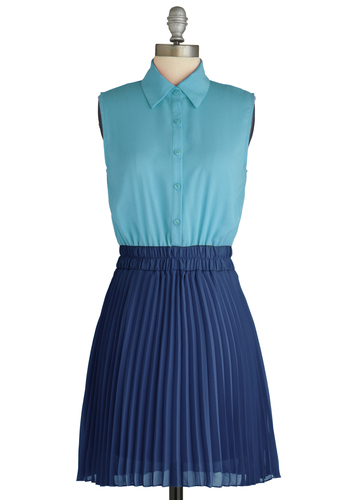 Sample 1695 - Blue, Buttons, Pockets, Shirt Dress, Sleeveless