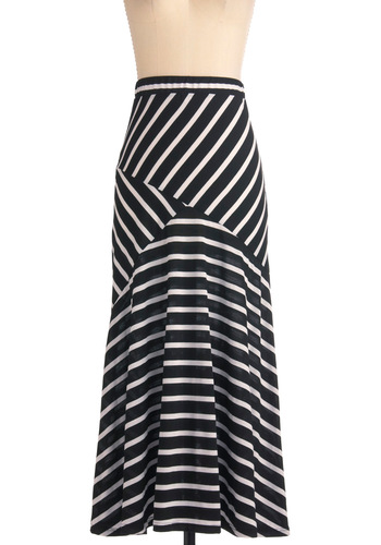 Big City Boho Skirt - Long, Black, White, Stripes, Casual, Maxi