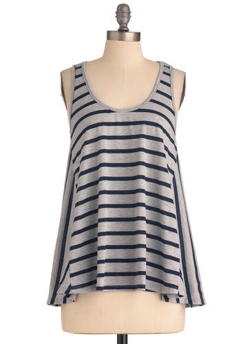 Company Picnic Top - Grey, Stripes, Casual, Tank top (2 thick straps), Buttons, Black, Mid-length