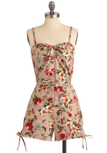 Garden Stage Romper by Bettie Page - Tan, Multi, Multi, Floral, Bows, Casual, Spaghetti Straps, Summer, Long