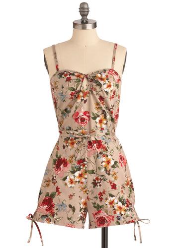 Garden Stage Romper - Tan, Multi, Multi, Floral, Bows, Casual, Spaghetti Straps, Summer, Long