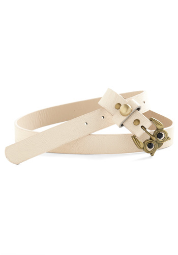 Owl Times' Sake Belt - Cream, Gold, Solid, Buckles, Casual, Owls, Faux Leather, Mod