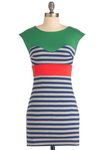 Coast to Rollercoaster Dress - Short, Red, Green, Grey, Stripes, Mini, Cap Sleeves, Casual, Blue, Shift, Colorblocking