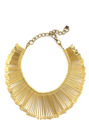 Brilliant A-Ray Necklace by Pam Hiran - Gold, Special Occasion, Prom, Wedding, Party, Casual, Statement
