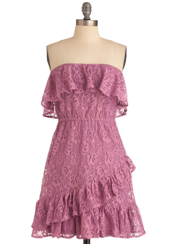 Boheme Dream Dress - Purple, Ruffles, Empire, Strapless, Casual, Boho, Summer, Solid, Lace, Mid-length