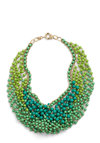 Statement of the Art Necklace - Green, Gold, Beads, Chain, Wedding, Party, Work, Casual, Statement, Vintage Inspired, 60s