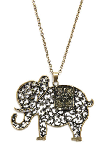 The Elephant's Elegance Necklace - Gold, Chain, Cutout, Party, Casual, Safari