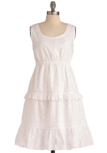 Confetti Fete Dress - Mid-length, White, Polka Dots, Ruffles, Empire, Tank top (2 thick straps), Casual, Spring