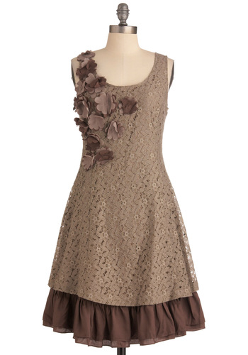Mocha Biscotti Dress by Ryu - Mid-length, Brown, Floral, Flower, Ruffles, A-line, Tank top (2 thick straps), Lace, Casual, Scoop