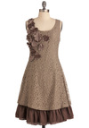 Mocha Biscotti Dress by Ryu - Mid-length, Brown, Floral, Flower, Ruffles, A-line, Tank top (2 thick straps), Lace, Casual, Cocktail, Scoop