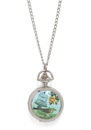Timepiece of the Puzzle Necklace in Chirp - Silver, Multi, Print with Animals, Chain