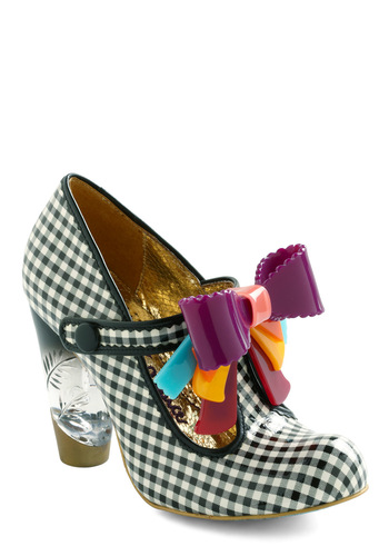 You Candy Do It Heels by Irregular Choice - Multi, Yellow, Blue, Purple, Pink, Checkered / Gingham, Bows, Scallops, Trim, Party, Black, White, Statement