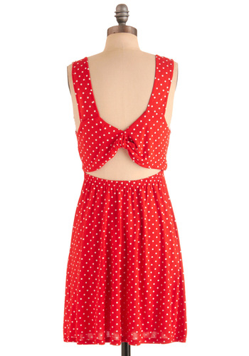 Frisbee on Flagstaff Hill Dress by Tulle Clothing - Mid-length, Red, White, Polka Dots, Shift, Tank top (2 thick straps), Casual, Summer, Jersey