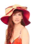 Beachside Beauty Hat - Tan, Bows, Trim, Woven, Red, Solid, Casual, Nautical, Summer, Travel