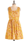 Get into the Groovy Dress by Tulle Clothing - Mid-length, Yellow, Orange, Green, White, Floral, Pleats, Pockets, A-line, Vintage Inspired, 60s, 70s, Multi, Casual, Racerback, Summer