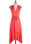 Wrapped Up in Beauty Dress - Long, Orange, Solid, Cap Sleeves, Wrap, Casual, Coral, V Neck