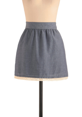 Afternoon of Errands Skirt by Tulle Clothing - Short, Blue, Solid, Casual, Tan / Cream, Crochet, Trim