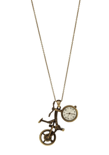 Timed Race Watch Necklace - Gold, Casual