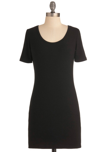 Turn Up the Basics Dress - Short, Black, Solid, Sheath / Shift, Short Sleeves, Casual, Urban