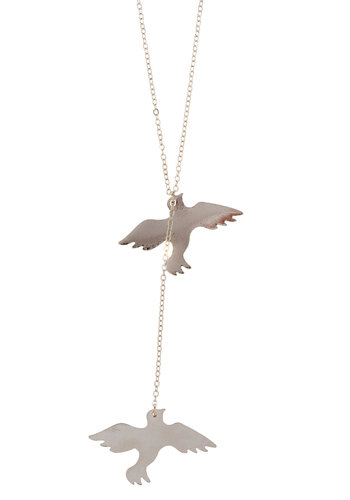 Flock Apart Necklace - Silver, Casual