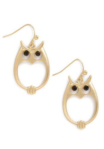 In Hoot Pursuit Earrings - Casual, Owls, Gold, Black, Solid, Rhinestones, Quirky