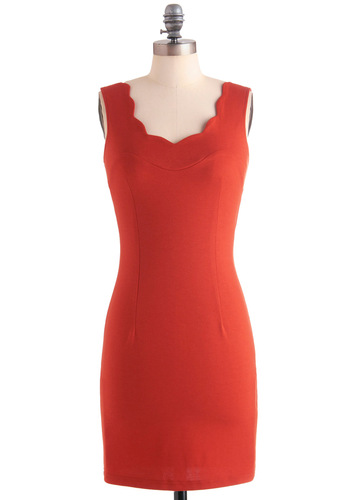 Make Waves for Style Dress - Mid-length, Red, Solid, Shift, Tank top (2 thick straps), Scallops, Party, Girls Night Out, Bodycon / Bandage