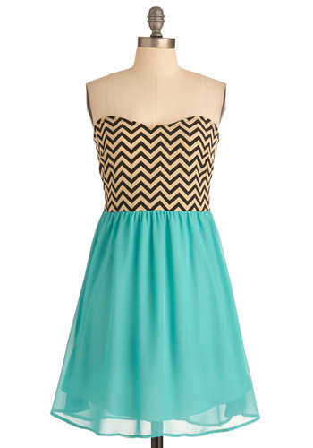 Chevron Top of the World Dress - Tan / Cream, Black, Strapless, Casual, Urban, Blue, Stripes, Twofer, Summer, Mid-length