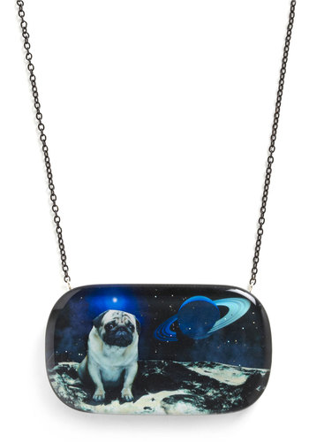Pugs in Space Necklace by Locketship - Casual, Statement, Blue, Tan / Cream, Chain