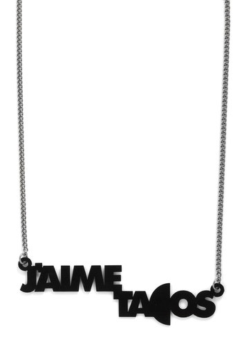 Comida as You Are Necklace by MNKR - Casual, Statement, Black, Silver