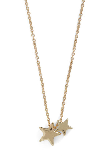 Twinkle Twinkle Little Starlet Necklace - Casual, Gold, Chain