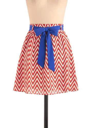 In With the Breeze Skirt - Short, Red, White, Stripes, Casual, Nautical, Blue, Black