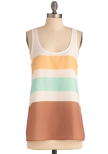 Minimalist Morning Top by BB Dakota - Stripes, Casual, Vintage Inspired, Racerback, Yellow, Blue, Brown, White, Summer, Mid-length