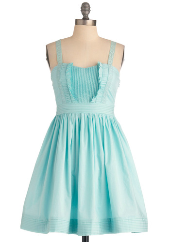 Winsome Smiles Dress - Short, Blue, Solid, Pleats, Ruffles, A-line, Party, Spaghetti Straps