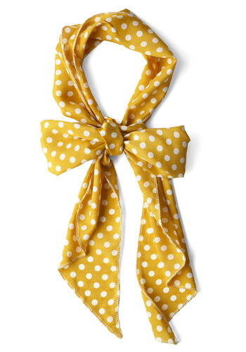 Bow to Stern Scarf in Mustard Dots - Casual, Yellow, White, Polka Dots, Basic, Top Rated
