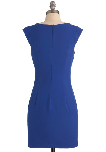Aperitif You Please Dress - Short, Blue, Solid, Pleats, Sheath / Shift, Cap Sleeves, Wedding, Party